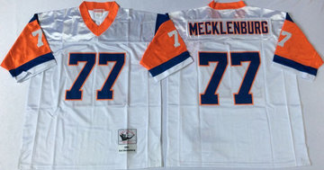 Mitchell And Ness Broncos  #77 Karl Mecklenburg Men's  white Throwback Stitched NFL Jersey