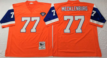 Mitchell And Ness Broncos  #77 Karl Mecklenburg Orange Men's  Throwback Stitched NFL Jersey