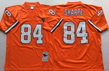 Mitchell And Ness Broncos  #84 Shannon Sharpe Orange Throwback Throwback Stitched NFL Jersey