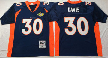 Mitchell And Ness Broncos # 30 terrell davis blue orange Throwback Stitched NFL Jersey
