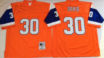 Mitchell And Ness Broncos # 30 terrell davis orange Throwback Stitched NFL Jersey
