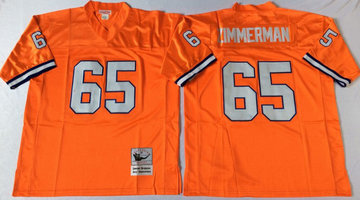 Mitchell And Ness Broncos #65 ZIMMERMAN orange Throwback Stitched NFL Jersey