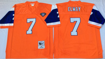 Mitchell And Ness Broncos #7 john elway orange Throwback Stitched NFL Jersey