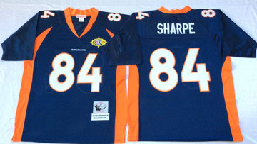 Mitchell And Ness Broncos #84 Shannon Sharpe Throwback  blue orange Throwback Stitched NFL Jersey