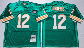Mitchell And Ness Dolphins  #12 bob griese green Throwback Stitched NFL Jersey