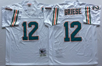 Mitchell And Ness Dolphins  #12 bob griese white Throwback Stitched NFL Jersey