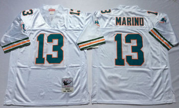 Mitchell And Ness Dolphins  #13 dan marino white Throwback Stitched NFL Jersey