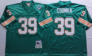 Mitchell And Ness Dolphins  #39 Larry Csonka green Throwback Stitched NFL Jersey