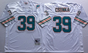 Mitchell And Ness Dolphins  #39 Larry Csonka white Throwback Stitched NFL Jersey
