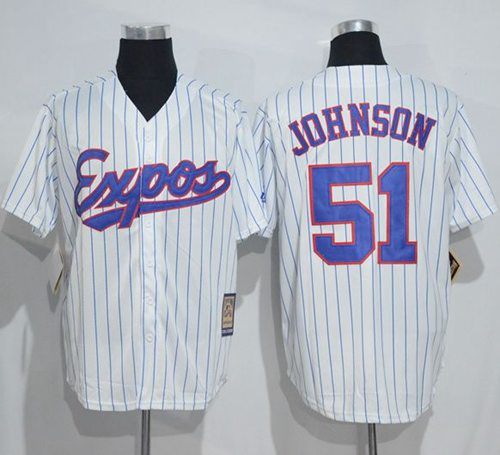 Mitchell And Ness Expos #51 Randy Johnson White Strip Throwback Stitched MLB Jersey