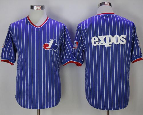 Mitchell And Ness Expos Blank Blue Strip Throwback Stitched MLB Jersey