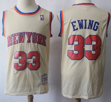 Mitchell And Ness Knicks #33 Patrick Ewing Cream Throwback Stitched NBA Jersey