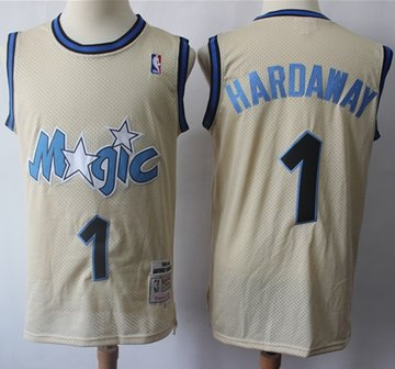 Mitchell And Ness Magic #1 Penny Hardaway Cream Throwback Stitched NBA Jersey