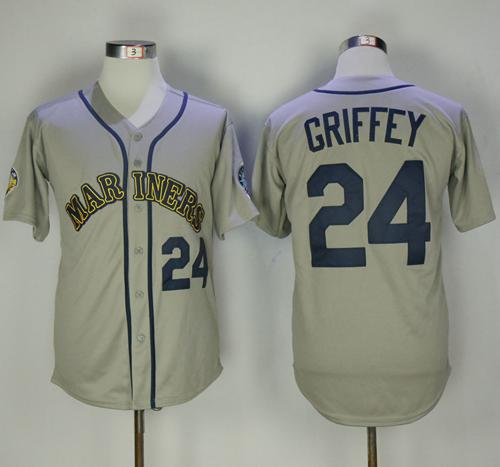 Mitchell And Ness Mariners #24 Ken Griffey Grey Throwback Stitched MLB Jersey