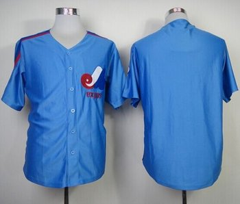 Mitchell And Ness Montreal Expos Blank Blue Throwback Stitched Baseball Jersey