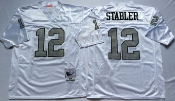 Mitchell And Ness Raiders #12 Ken Stabler White Throwback Stitched NFL Jersey