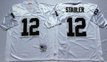 Mitchell And Ness Raiders #12 Ken Stabler White Throwback Stitched NFL Jerseys