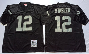 Mitchell And Ness Raiders #12 Ken Stabler balck Throwback Stitched NFL Jersey