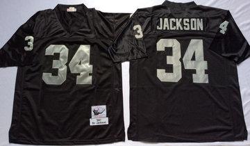 Mitchell And Ness Raiders #34 Bo Jackson balck Throwback Stitched NFL Jersey
