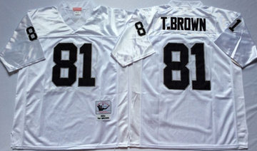Mitchell And Ness Raiders #81  tim brown White Throwback Stitched NFL Jersey
