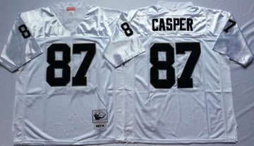 Mitchell And Ness Raiders #87 casper white Throwback Stitched NFL Jersey