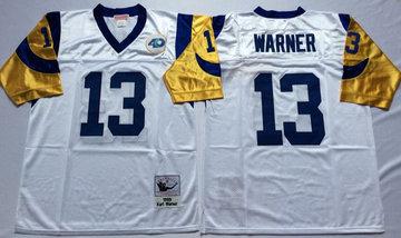 Mitchell And Ness Rams #13 kurt warner white Throwback Stitched NFL Jersey
