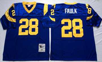 Mitchell And Ness Rams #28 marshall faulk Blue Throwback Stitched NFL Jersey
