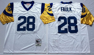 Mitchell And Ness Rams #28 marshall faulk white Throwback Stitched NFL Jersey
