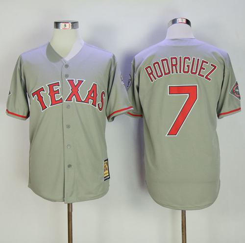 Mitchell And Ness Rangers #7 Ivan Rodriguez Grey Throwback Stitched MLB Jersey