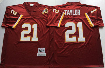 Mitchell And Ness Redskins #21 Sean Taylor Red Throwback Stitched NFL Jersey
