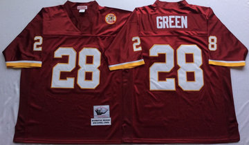 Mitchell And Ness Redskins #28 Darrell Green Red Throwback Stitched NFL Jersey