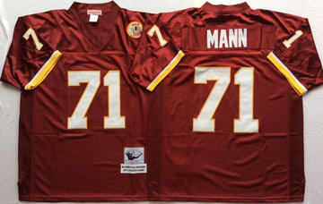 Mitchell And Ness Redskins #71 MANN Red Throwback Stitched NFL Jersey