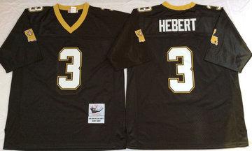 Mitchell And Ness Saints #3 Bobby Hebert  Black Throwback Stitched NFL Jerseys