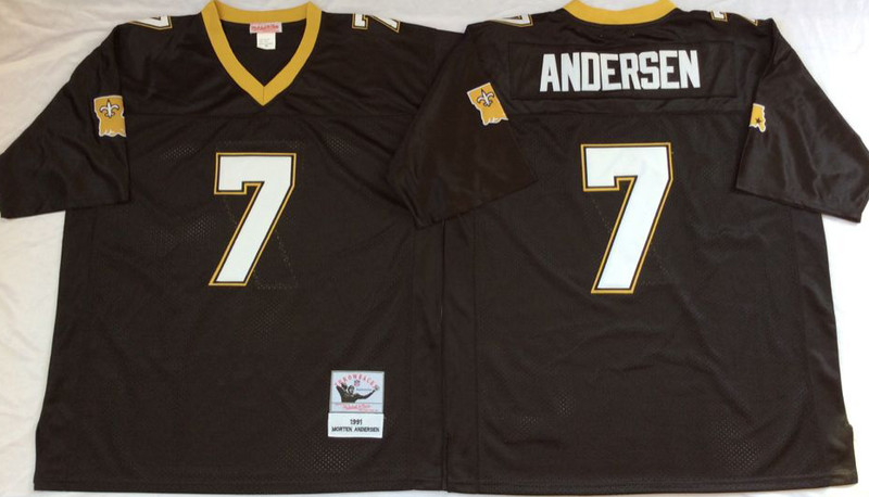 Mitchell And Ness Saints #7 ANDERSAN Black Throwback Stitched NFL Jersey
