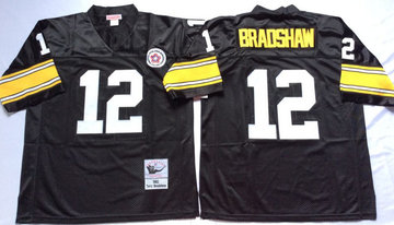 Mitchell And Ness Steelers #12 Terry Bradshaw Black Throwback Stitched NFL Jersey