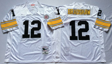 Mitchell And Ness Steelers #12 Terry Bradshaw white Throwback Stitched NFL Jersey