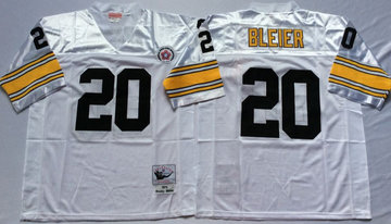 Mitchell And Ness Steelers #20 Rocky Bleier white Throwback Stitched NFL Jersey