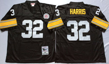 Mitchell And Ness Steelers #32 Franco Harris Black Throwback Stitched NFL Jersey