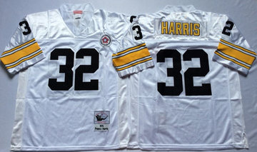Mitchell And Ness Steelers #32 Franco Harris white Throwback Stitched NFL Jersey