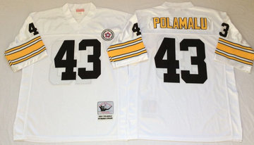 Mitchell And Ness Steelers #43 Troy Polamalu white Throwback Stitched NFL Jersey
