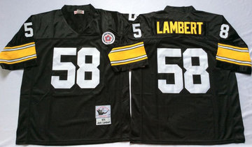 Mitchell And Ness Steelers #58 Jack Lambert Black Throwback Stitched NFL Jersey