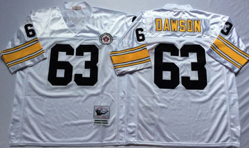Mitchell And Ness Steelers #63 Dermontti Dawson white Throwback Stitched NFL Jersey
