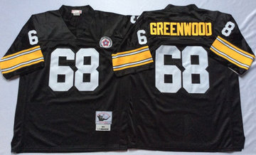 Mitchell And Ness Steelers #68 L.C. Greenwood Black Throwback Stitched NFL Jersey