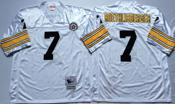 Mitchell And Ness Steelers #7 Ben Roethlisberger white Throwback Stitched NFL Jersey