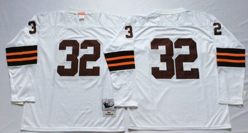 Mitchell And Ness browns #32 Jim Brown  white Throwback Stitched NFL Jersey