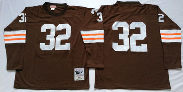 Mitchell And Ness browns #32 Jim Brown Brown Throwback Stitched NFL Jersey
