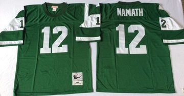 Mitchell And Ness jets #12 Joe Namath  green Throwback Stitched NFL Jerseys