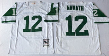 Mitchell And Ness jets #12 Joe Namath  white Throwback Stitched NFL Jerseys