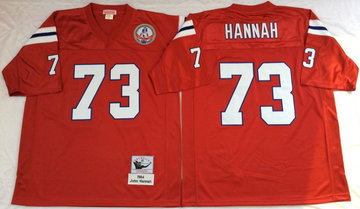 Mitchell And Ness patriots #73 john hannah red Men's Throwback Stitched NFL Jersey
