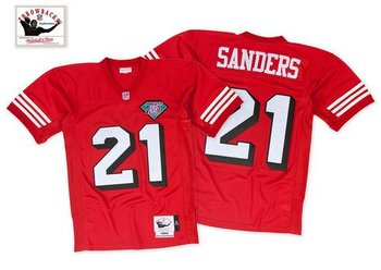 Mitchell and Ness San Francisco 49ers #21 Deion Sanders Red With 50TH 1996 Stitched NFL Jersey